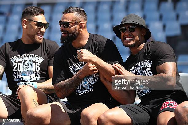 Jayson Bukuya and Ben Barba of the Sharks celebrate during the Cronulla Sharks NRL Grand Final celebrations at Southern Cross Group Stadium on...