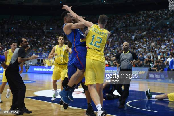 Jayson Castro of the Philippines runs to their opponents during the match between Australia and the Philippines for the FIBA Asian Qualifiers held at...