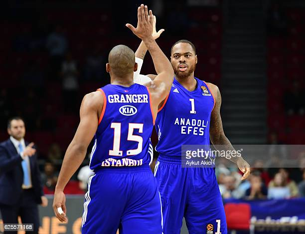 Jayson Granger #15 of Anadolu Efes Istanbul and Deshaun Thomas #1 of Anadolu Efes Istanbul in action during the 2016/2017 Turkish Airlines EuroLeague...