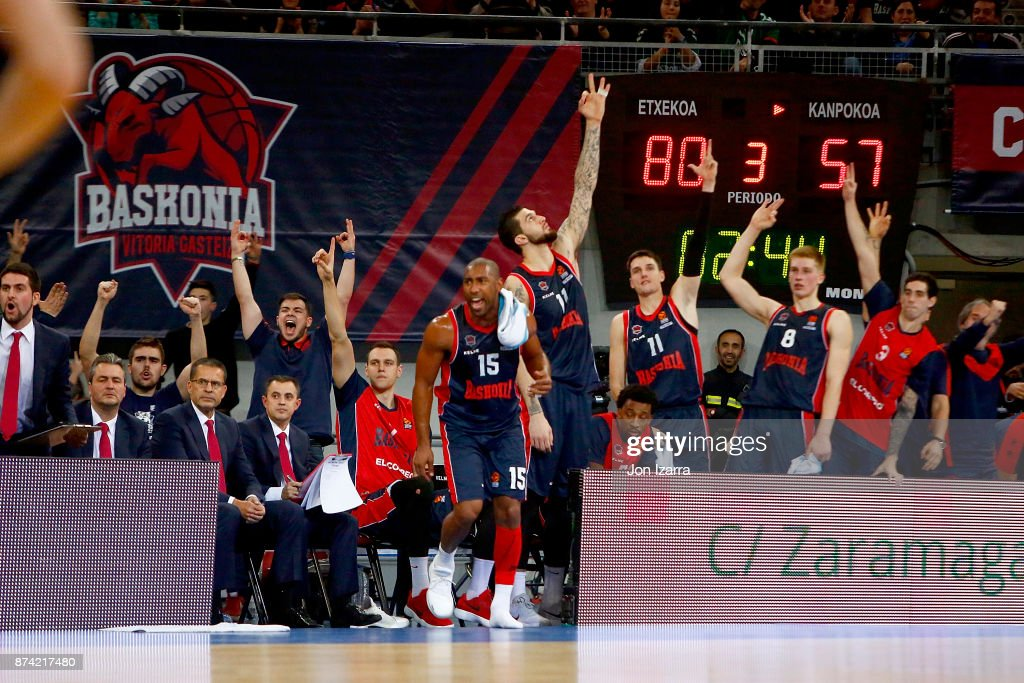 Jayson Granger, #15 of Baskonia Vitoria Gasteiz celebrates during the 2017/2018 Turkish Airlines EuroLeague Regular Season Round 7 game between Baskonia Vitoria Gasteiz and Real Madrid at Fernando Buesa Arena on November 14, 2017 in Vitoria-Gasteiz, Spain.