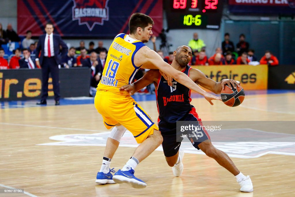 Jayson Granger, #15 of Baskonia Vitoria Gasteiz competes with Marko Todorovic, #19 of Khimki Moscow Region in action during the 2017/2018 Turkish Airlines EuroLeague Regular Season Round 24 game between Baskonia Vitoria Gasteiz and Khimki Moscow Region at Fernando Buesa Arena on March 1, 2018 in Vitoria-Gasteiz, Spain.