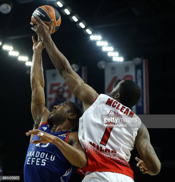 Jayson Granger of Anadolu Efes in action against Jamel Mclean of EA7 Emporio Armani Milan during the Turkish Airlines Euroleague match between...