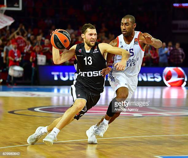 Jayson Granger of Anadolu Efes Istanbul in action against Janis Strelnieks of Brose Baskets Bamberg during Turkish Airlines Euroleague basketball...