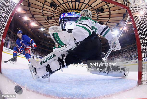 Jayson Megna of the New York Rangers scores a third period goal against Antti Niemi of the Dallas Stars at Madison Square Garden on January 5 2016 in...