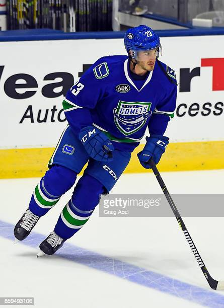 Jayson Megna of the Utica Comets skates in warmup prior to a game against the Toronto Marlies on October 7 2017 at Ricoh Coliseum in Toronto Ontario...
