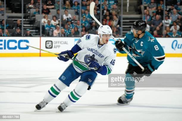Jayson Megna of the Vancouver Canucks skates during a NHL game against the San Jose Sharks at SAP Center at San Jose on April 4 2017 in San Jose...