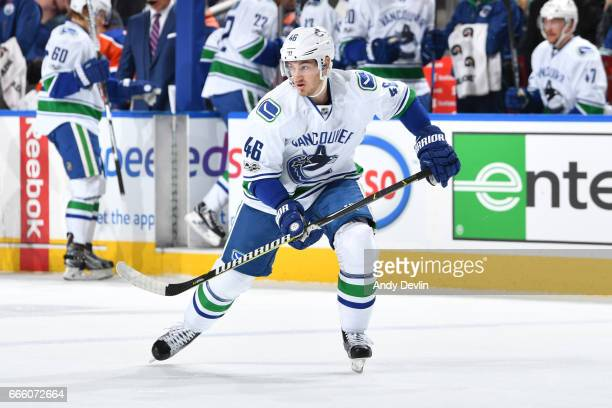 Jayson Megna of the Vancouver Canucks skates during the game against the Edmonton Oilers on March 18 2017 at Rogers Place in Edmonton Alberta Canada
