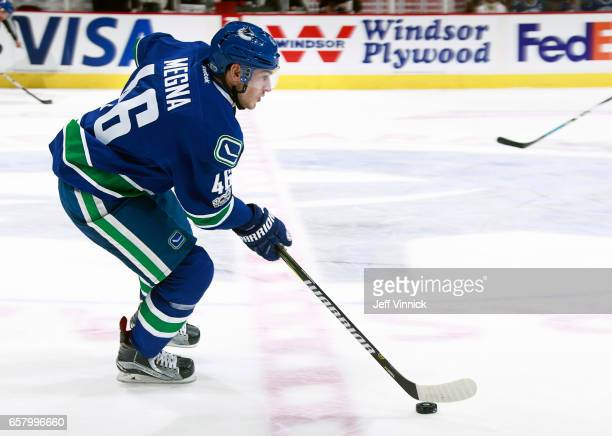 Jayson Megna of the Vancouver Canucks skates up ice during their NHL game against the Boston Bruins at Rogers Arena March 13 2017 in Vancouver...