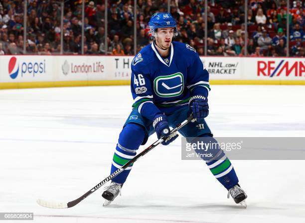 Jayson Megna of the Vancouver Canucks skates up ice during their NHL game against the Edmonton Oilers at Rogers Arena April 8 2017 in Vancouver...