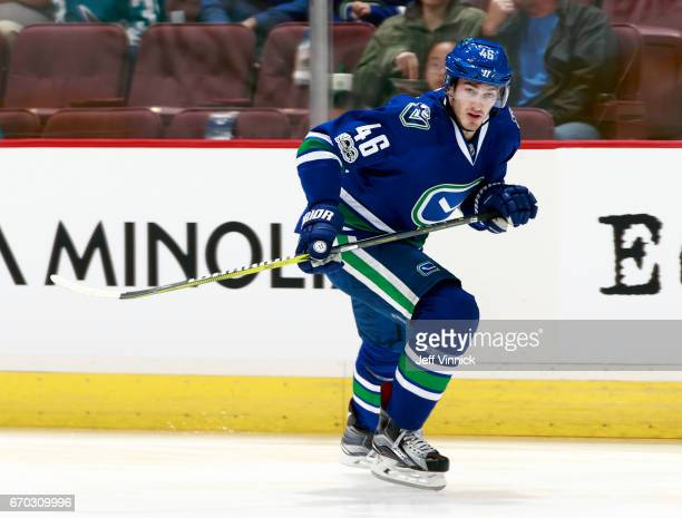 Jayson Megna of the Vancouver Canucks skates up ice during their NHL game against the San Jose Sharks at Rogers Arena April 2 2017 in Vancouver...