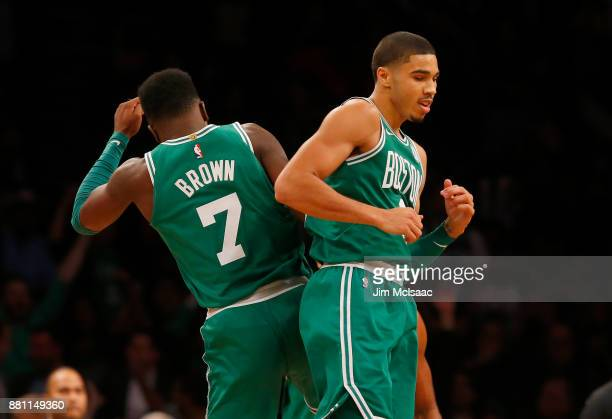 Jayson Tatum and Jaylen Brown of the Boston Celtics in action against the Brooklyn Nets at Barclays Center on November 14 2017 in the Brooklyn...