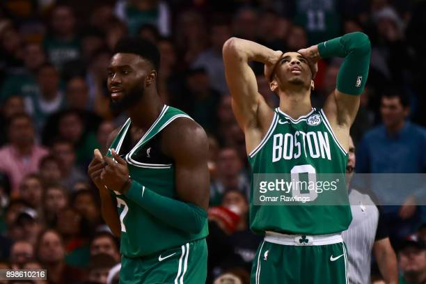 Jayson Tatum and Jaylen Brown of the Boston Celtics react after a call from the official during the fourth quarter of the game against the Washington...