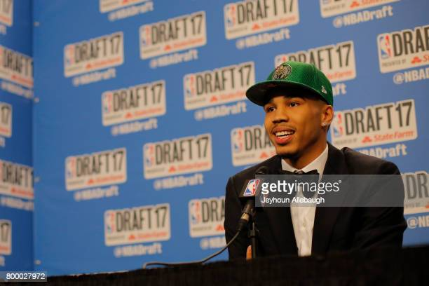 Jayson Tatum is interviewed after being selected third overall by the Boston Celtics at the 2017 NBA Draft on June 22 2017 at Barclays Center in...
