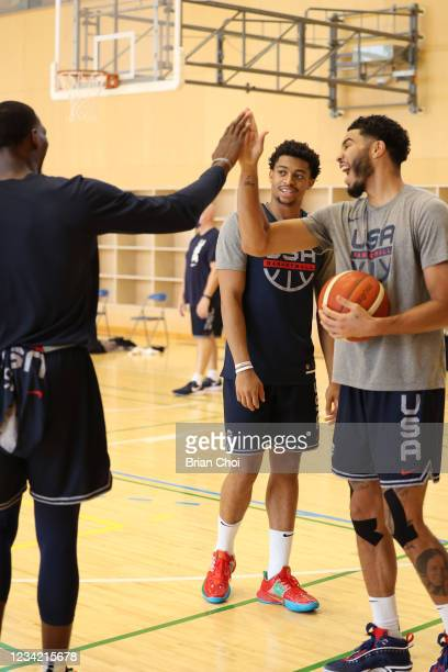 Jayson Tatum, Keldon Johnson, and Bam Adebayo smile during the USA Basketball Men's National Team Practice on July 25, 2021 in Tokyo, Japan. NOTE TO...