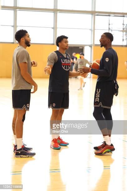 Jayson Tatum, Keldon Johnson, and Bam Adebayo talk during the USA Basketball Men's National Team Practice on July 25, 2021 in Tokyo, Japan. NOTE TO...