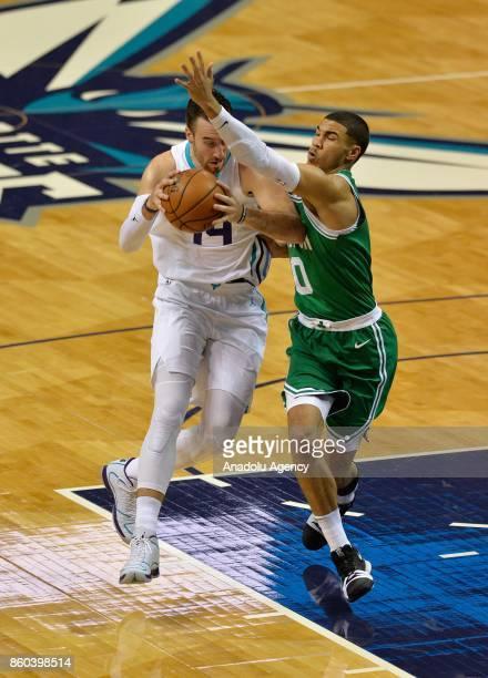 Jayson Tatum of Boston Celtics blocks Frank Kaminsky of Charlotte Hornets during the NBA match between Boston Celtics vs Charlotte Hornets at the...