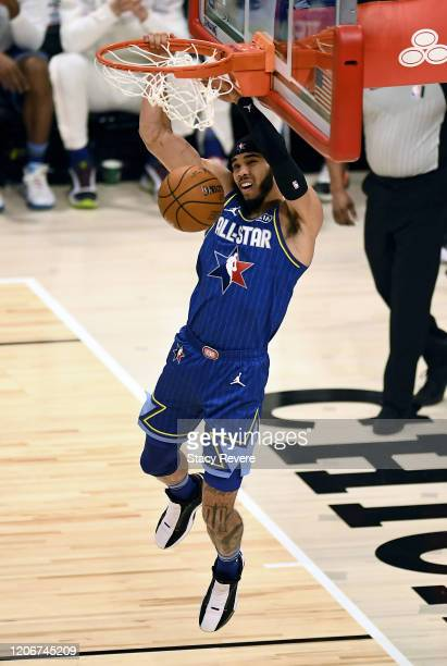 Jayson Tatum of Team LeBron dunks the ball in the first quarter against Team Giannis during the 69th NBA All-Star Game at the United Center on...