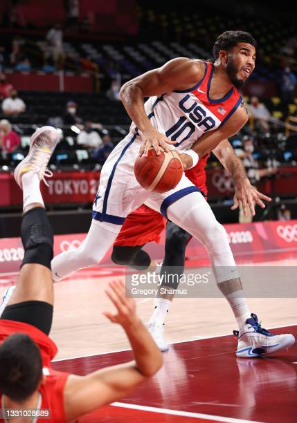 Jayson Tatum of Team United States drives to the basket against Islamic Republic of Iran during the first half of a Men's Preliminary Round Group A...