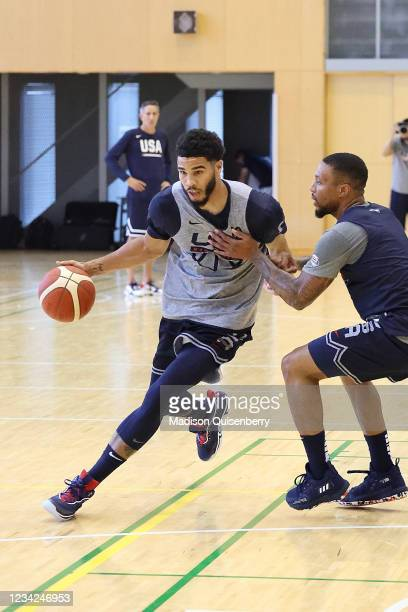 Jayson Tatum of Team USA drives to the basket during USAB Mens National Team practice on July 27, 2021 in Tokyo, Japan. NOTE TO USER: User expressly...