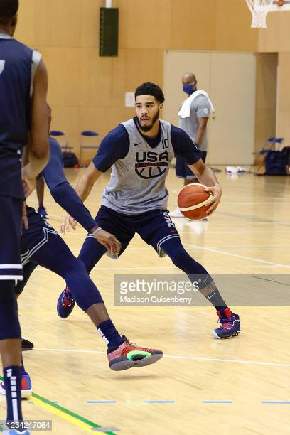 Jayson Tatum of Team USA handles the ball during USAB Mens National Team practice on July 27, 2021 in Tokyo, Japan. NOTE TO USER: User expressly...