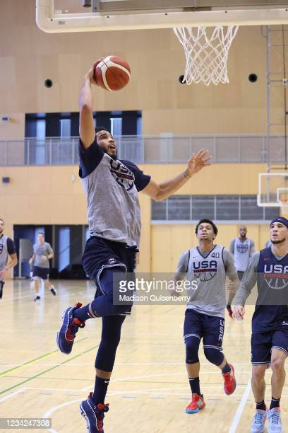 Jayson Tatum of Team USA shoots the ball during USAB Mens National Team practice on July 27, 2021 in Tokyo, Japan. NOTE TO USER: User expressly...