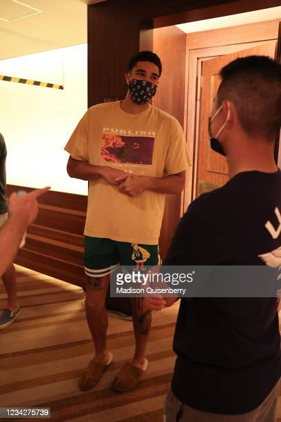 Jayson Tatum of Team USA smiles during a meet up with Team USA golf on July 27, 2021 in Tokyo, Japan. NOTE TO USER: User expressly acknowledges and...