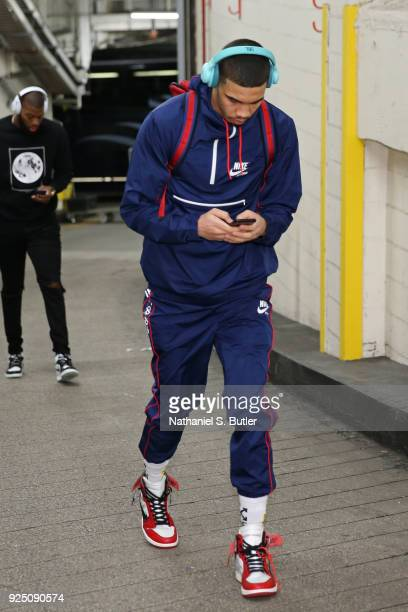 Jayson Tatum of the Boston Celtics arrives at the arena before the game against the New York Knicks on February 24 2018 at Madison Square Garden in...