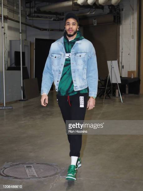 Jayson Tatum of the Boston Celtics arrives before the game against the Indiana Pacers on March 10 2020 at Bankers Life Fieldhouse in Indianapolis...