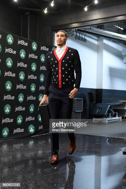 Jayson Tatum of the Boston Celtics arrives to the arena prior to Game Five of Round One of the 2018 NBA Playoffs against the Milwaukee Bucks on April...