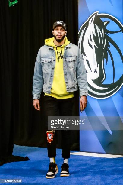 Jayson Tatum of the Boston Celtics arrives to the game against the Dallas Mavericks on December 18 2019 at the American Airlines Center in Dallas...