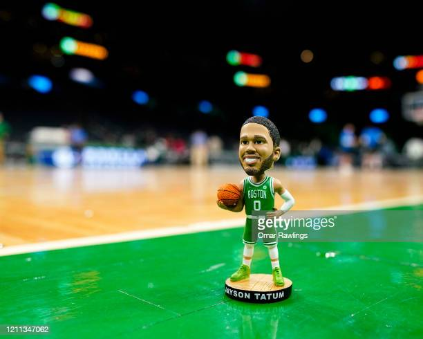 Jayson Tatum of the Boston Celtics Bobblehead figure stands on court before the game against the Oklahoma City Thunder at TD Garden on March 08 2020...