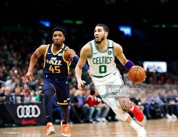 Jayson Tatum of the Boston Celtics brings the ball up court during the first quarter of the game against the Utah Jazz at TD Garden on March 06 2020...