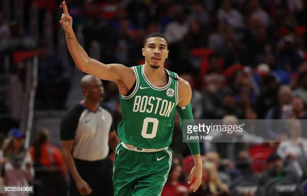 Jayson Tatum of the Boston Celtics celebrates a making a three point shot during the first quarter of the game against the Detroit Pistons at Little...