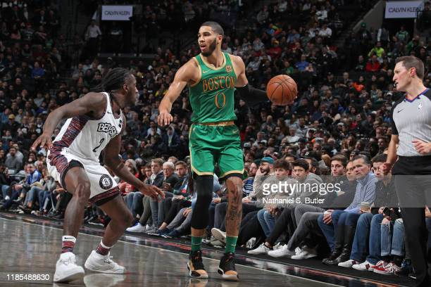 Jayson Tatum of the Boston Celtics dribbles the ball against the Brooklyn Nets on November 29 2019 at Barclays Center in Brooklyn New York NOTE TO...