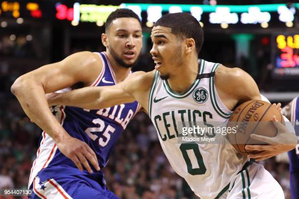 Jayson Tatum of the Boston Celtics drives against Ben Simmons of the Philadelphia 76ers during Game Two of the Eastern Conference Second Round of the...