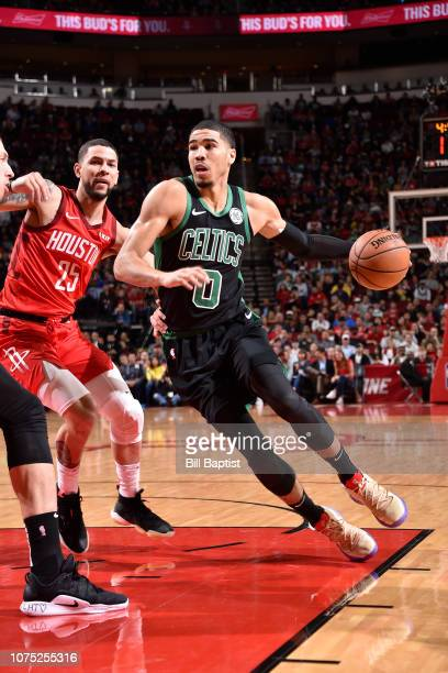 Jayson Tatum of the Boston Celtics drives to the basket against the Houston Rockets on December 27 2018 at the Toyota Center in Houston Texas NOTE TO...
