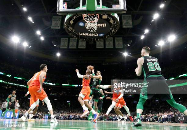 Jayson Tatum of the Boston Celtics drives to the basket during the second quarter of the game against the Oklahoma City Thunder at TD Garden on March...