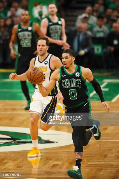 Jayson Tatum of the Boston Celtics drives to the basket in the second quarter during Game One of the first round of the 2019 NBA Eastern Conference...