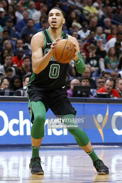 Jayson Tatum of the Boston Celtics drives with the ball during the first half against the New Orleans Pelicans at the Smoothie King Center on March...
