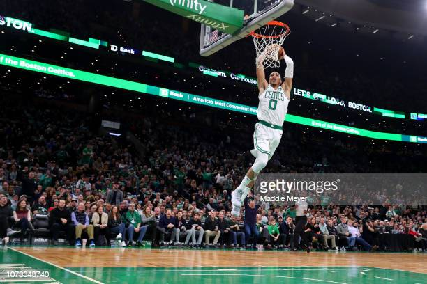 Jayson Tatum of the Boston Celtics dunks during the game between the Boston Celtics and the Atlanta Hawks at TD Garden on December 14 2018 in Boston...