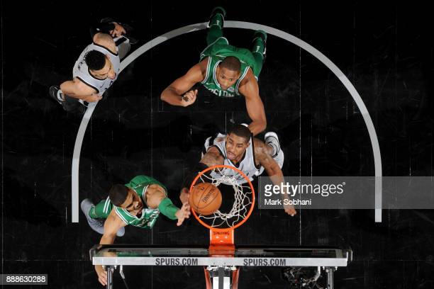 Jayson Tatum of the Boston Celtics goes to the basket against LaMarcus Aldridge of the San Antonio Spurs on December 8 2017 at the ATT Center in San...