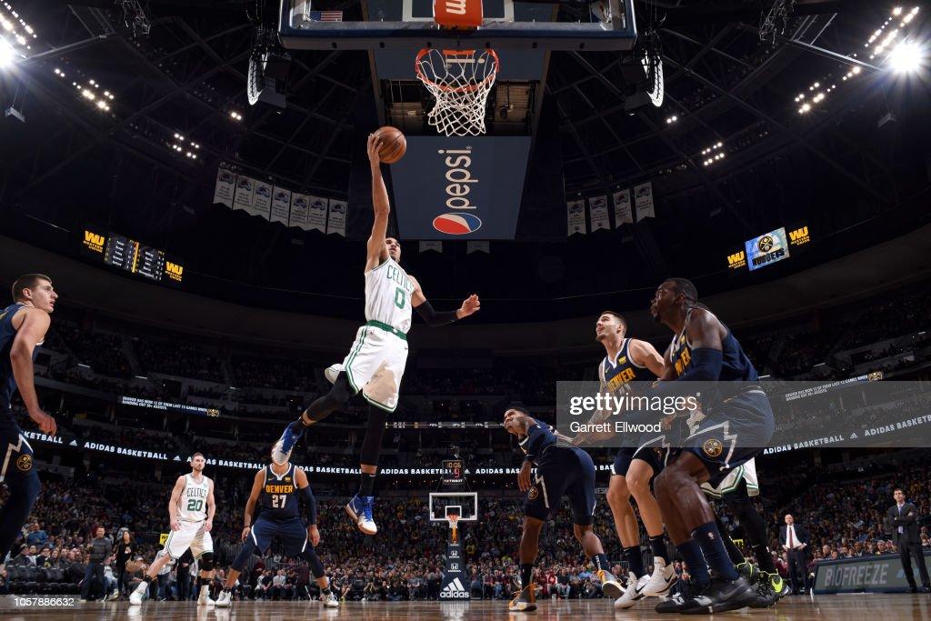 buy popular dc423 e98ed Jayson Tatum of the Boston Celtics goes to the basket ...