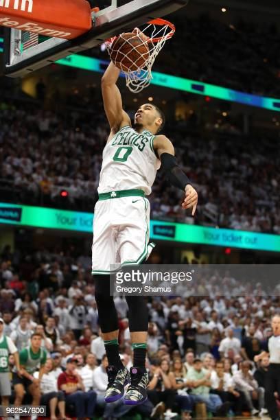 Jayson Tatum of the Boston Celtics goes up for a dunk in the fourth quarter against the Cleveland Cavaliers during Game Six of the 2018 NBA Eastern...