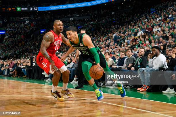Jayson Tatum of the Boston Celtics handles the ball against the Houston Rockets on March 3 2019 at the TD Garden in Boston Massachusetts NOTE TO USER...