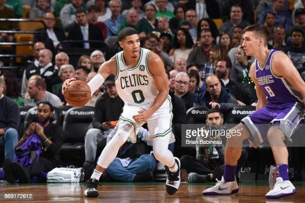 Jayson Tatum of the Boston Celtics handles the ball against the Sacramento Kings on November 1 2017 at the TD Garden in Boston Massachusetts NOTE TO...