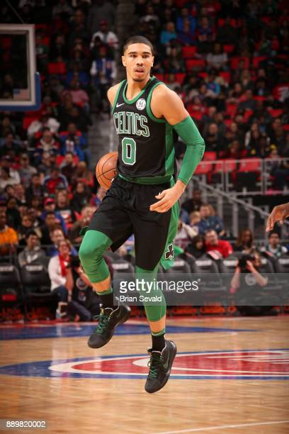 Jayson Tatum of the Boston Celtics handles the ball against the Detroit Pistons on December 10 2017 at Little Caesars Arena in Detroit Michigan NOTE...