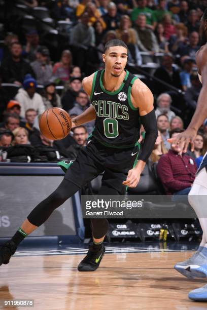 Jayson Tatum of the Boston Celtics handles the ball against the Denver Nuggets on January 29 2018 at the Pepsi Center in Denver Colorado NOTE TO USER...