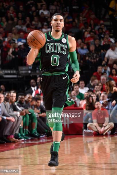 Jayson Tatum of the Boston Celtics handles the ball against the Houston Rockets on March 3 2018 at the Toyota Center in Houston Texas NOTE TO USER...