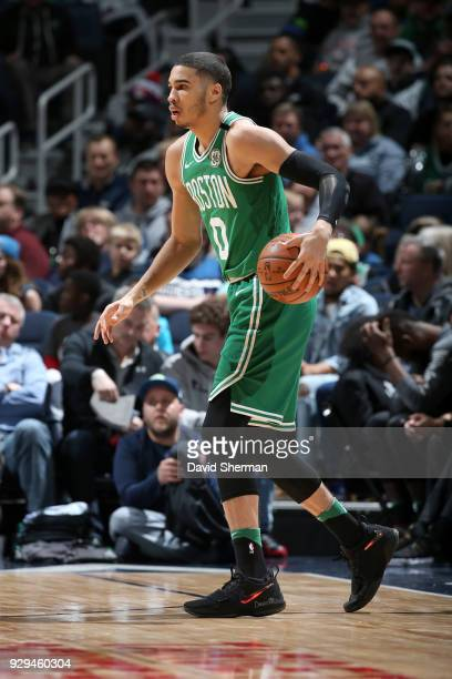 Jayson Tatum of the Boston Celtics handles the ball against the Minnesota Timberwolves on March 8 2018 at Target Center in Minneapolis Minnesota NOTE...