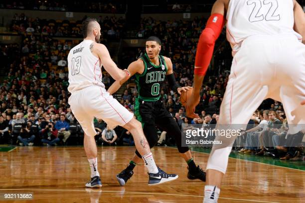 Jayson Tatum of the Boston Celtics handles the ball against the Washington Wizards on March 14 2018 at the TD Garden in Boston Massachusetts NOTE TO...